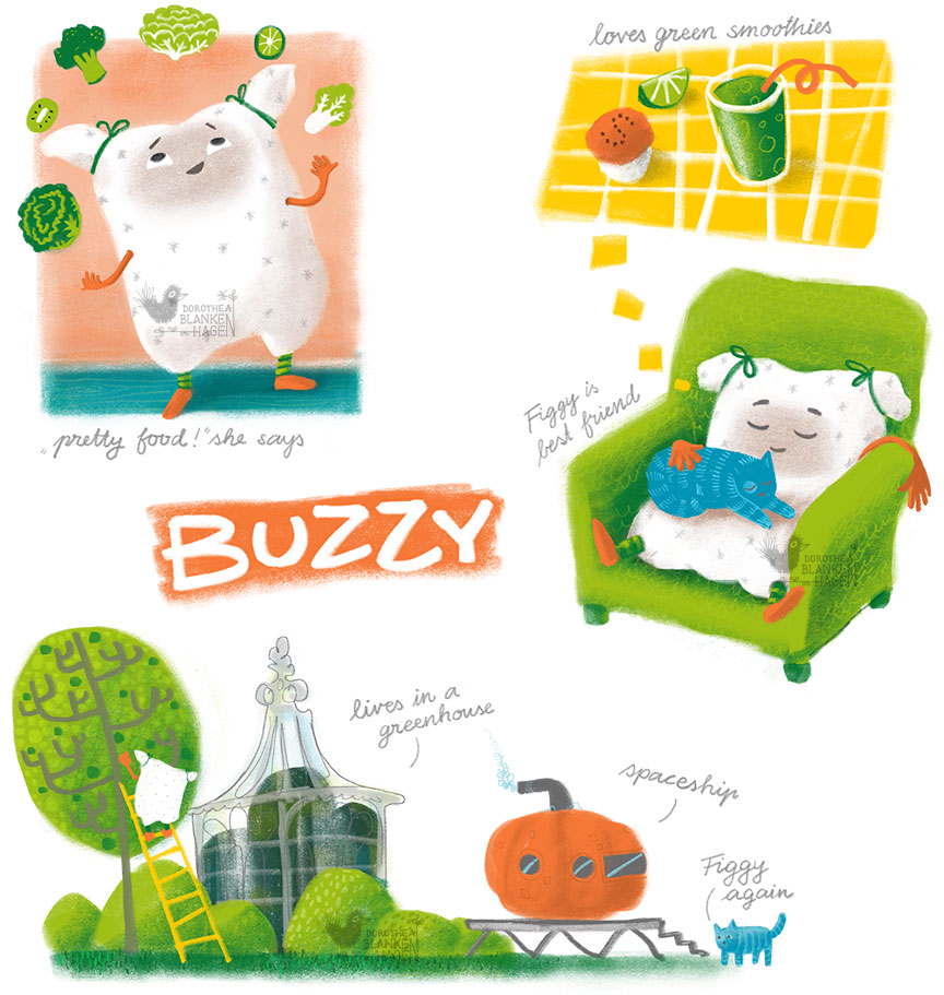 Character Development - Buzzy is a happy little pillow who loves green smoothies. Together with her best friend Figgy the blue cat she lives in a Victorian greenhouse.