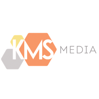 The refreshed KMS Media logo highlighting integration and cohesion whilst representing the Manchester worker bee.