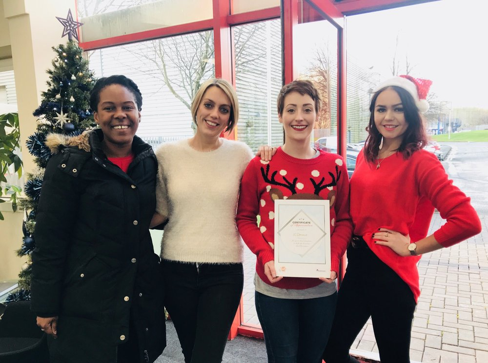 KMS Media presented JCDecaux with a certificate of involvement for taking part in our christmas collection