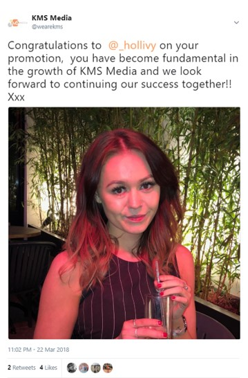 In March 2018, Hollie was promoted to Media Executive with a specific focus on digital media platforms