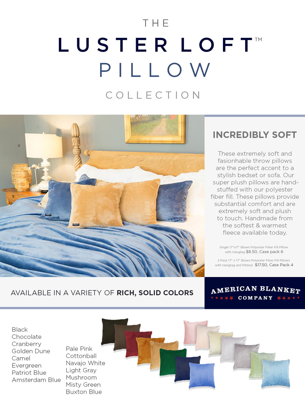 American Blanket Company Pillow Sell Sheet