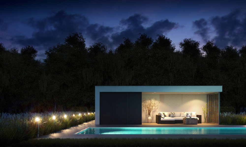 Lounge, poolhouse, open bar, luxe wellness modulair gebouwd.