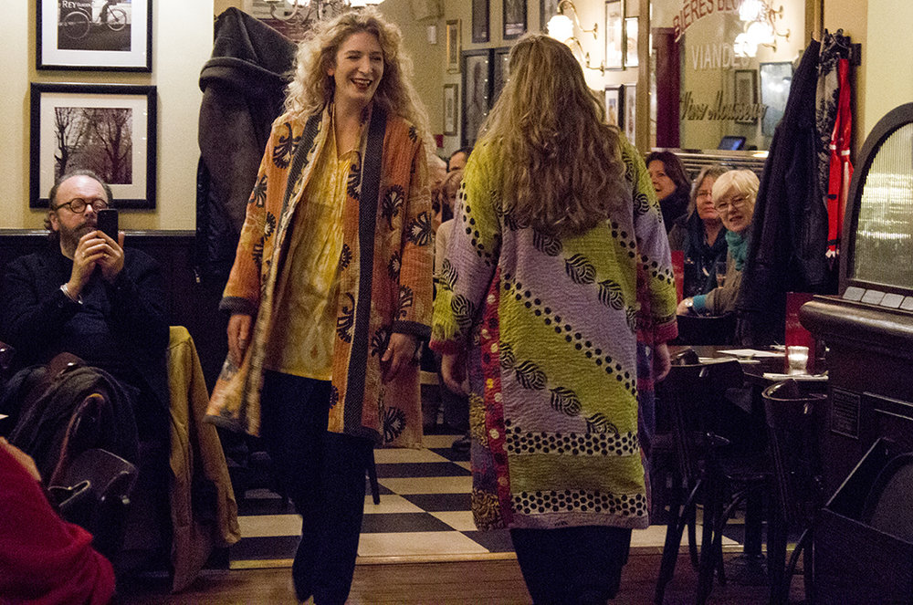 Amy and Lana wear the classic Jaadu kantha stitch robes