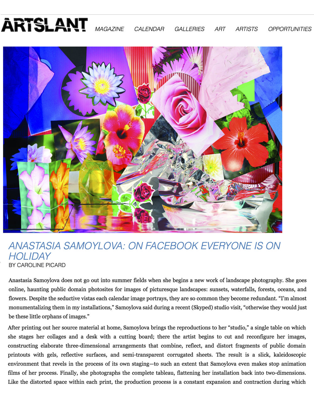 Anastasia Samoylova: On Facebook Everyone is On Holiday.  Caroline Picard, ArtSlant