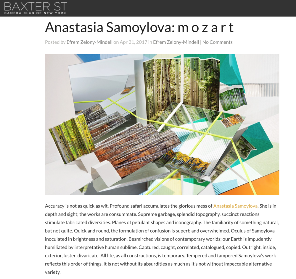 Anastasia Samoylova: m o z a r t.  Efrem Zelony-Mindell, Camera Club of New York