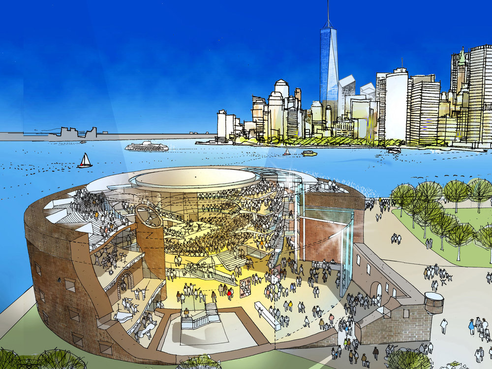 Drawing of the New Globe by Foster + Partners