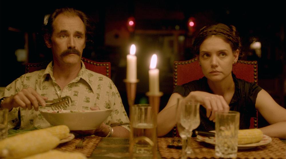 Mark Rylance (Stephen) and Katie Holmes (Alex)