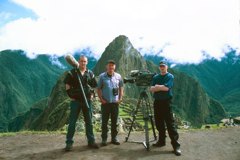 Adam Salkeld filming for the BBC with documentary crew - Machu Picchu, Peru