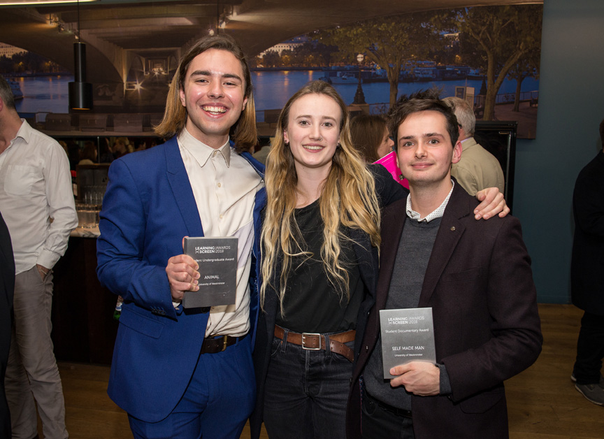 Alexander Cole and Polly Roise, director and producer of  Animal , and Harry Taylor, producer of  Self Made Man . Image courtesy of Learning on Screen Awards.