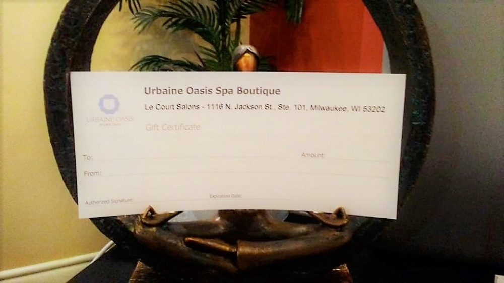 GIFT CERTIFICATES - Gift certificates are redeemable for all services. Gift certificates are at face value. They cannot be used towards gratuities.They may be purchased by phone, online or within the spa. They must be presented at the time of service and are non-refundable.Urbaine Oasis Spa Boutique gift certificates are not redeemable for cash. They cannot be applied with any membership discounts, combined with other special offers or be used on products. Terms and conditions are subject to change without notice.