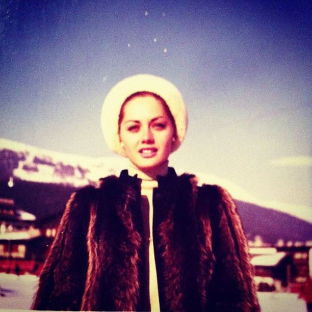 A young grandmother preparing for a day on the slopes (or more likely Après-ski!)