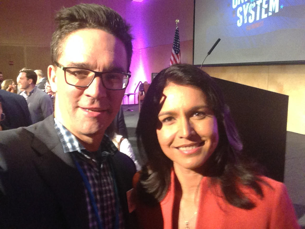 US Congressional Candidate Sander Hicks with Congresswoman Tulsi Gabbard (D-HI)