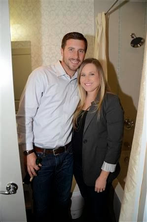 Eric and Kristina Long  checking out the spacious bathroom at The Argyle