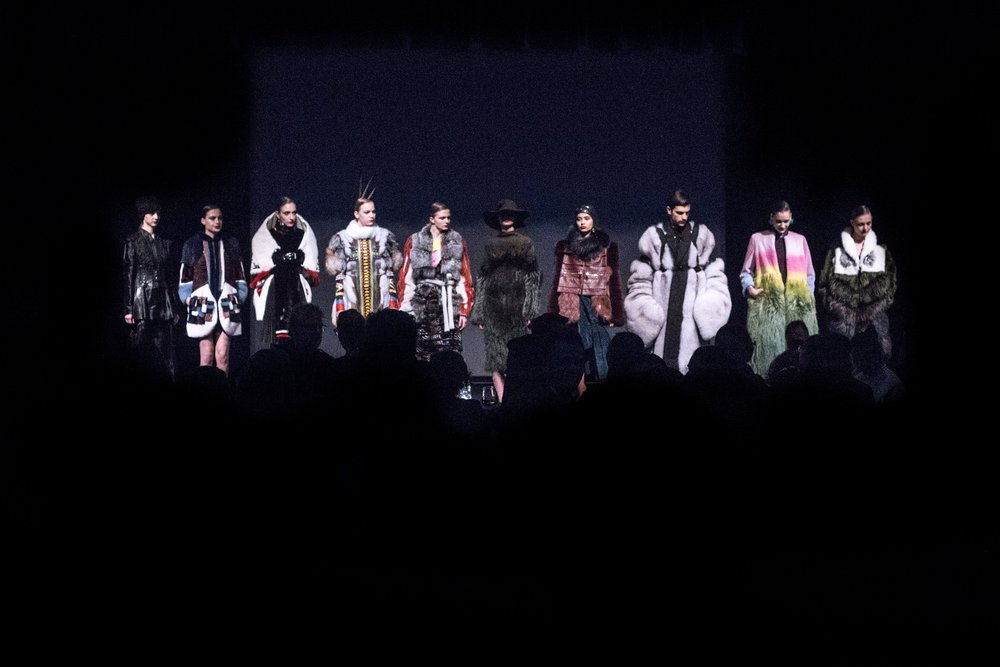 The 10 pieces from the finalists on stage, waiting for the announcement of the winners