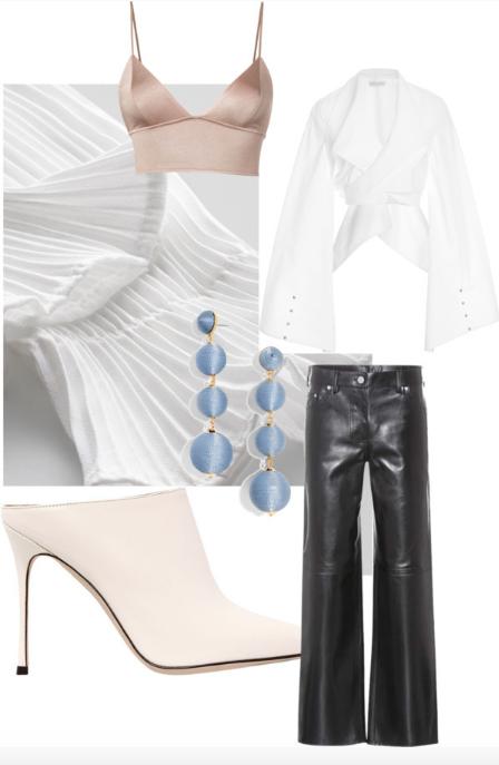 Blouse  /  Lether pants   /  Triengle bra  /  Heel pump   /  Jewelry