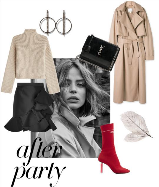 Turtle neck sweater  /  Trench coat  /  Skirt   /  Heel booties  /  Handbag  /  Jewelry