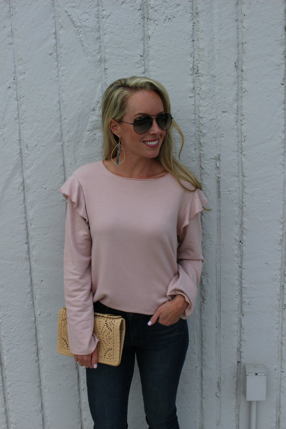 ruffled sweater with jeans