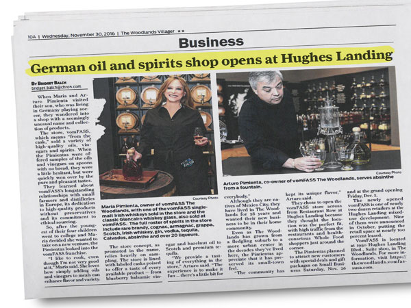 The Woodlands Villager - German Oil and Spirits Shop Opens at Hughes Landing