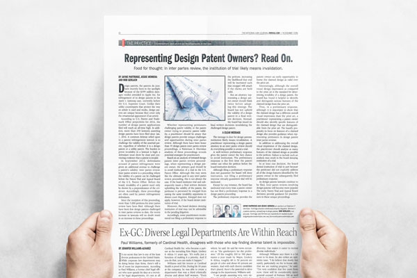 The National Law Journal - Representing Design Patent Owners? Read On.