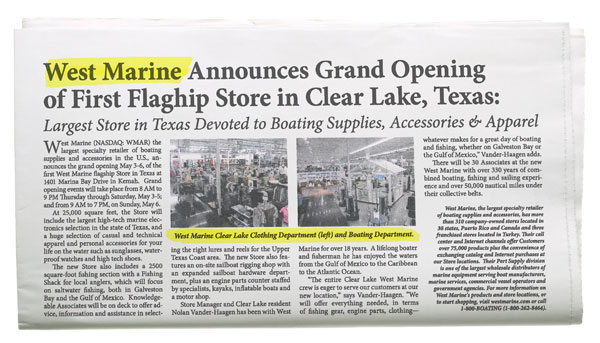 Gulf Coast Angler - West Marine Announces Grand Opening of First Flagship Store in Clear Lake, Texas