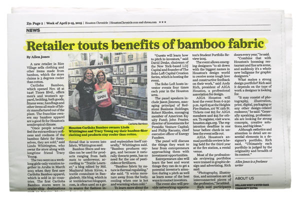 Houston Chronicle - Retailer Touts Benefits of Bamboo Fabric