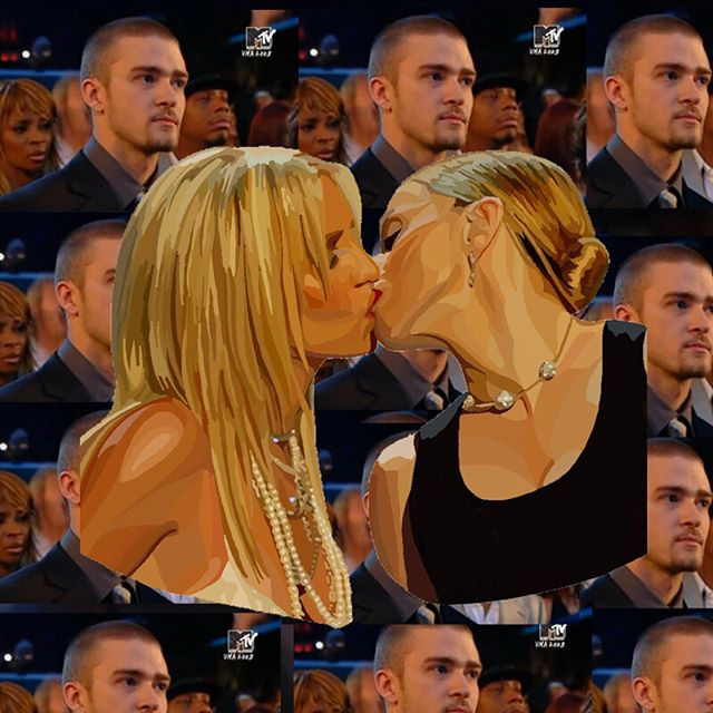 Iconic Pop Culture Moment: Never forget this legendary moment when Britney & Madonna kissed st the VMA but instead of showing her kiss with Xtina, MTV showed JT's reaction. Iconic.💕 #popchumpspopculture