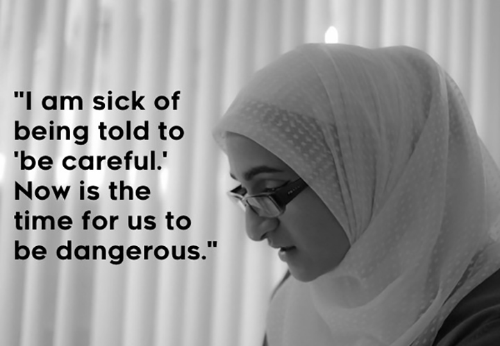 Naila - Naila is a student and activist who organizes for racial and gender justice. When hate crimes spiked during Trump's campaign, she knew her appearance put her at higher risk for attack. She wants to create a space where femmes and people of color can train to strike back.