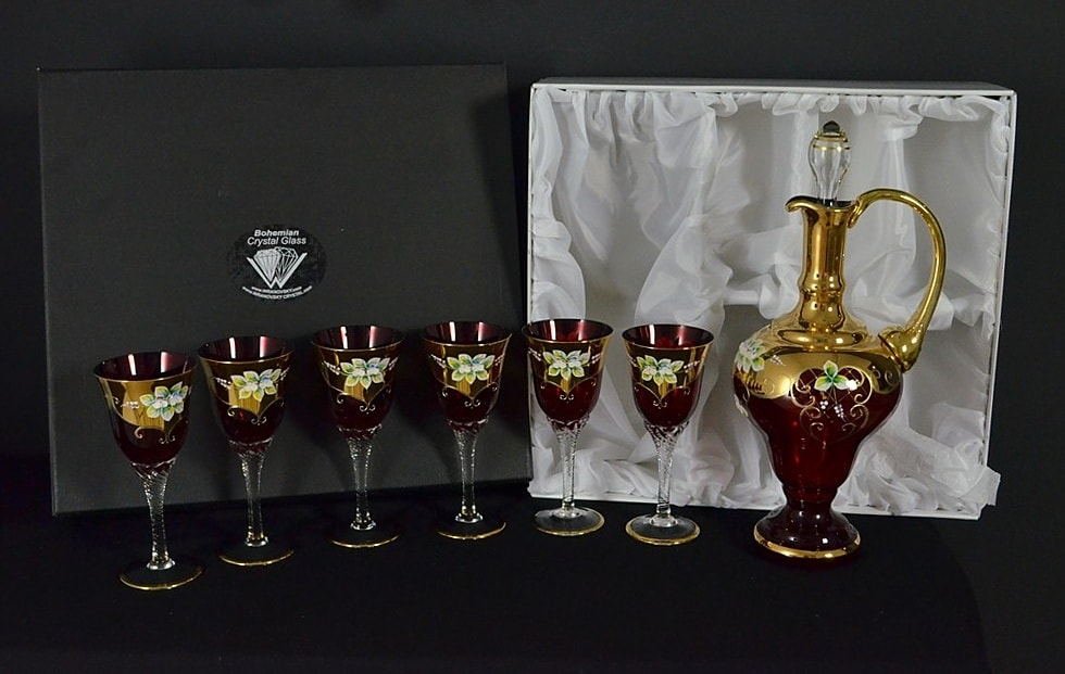 Set of decorative glass pomegranate - 6 glasses and decanter