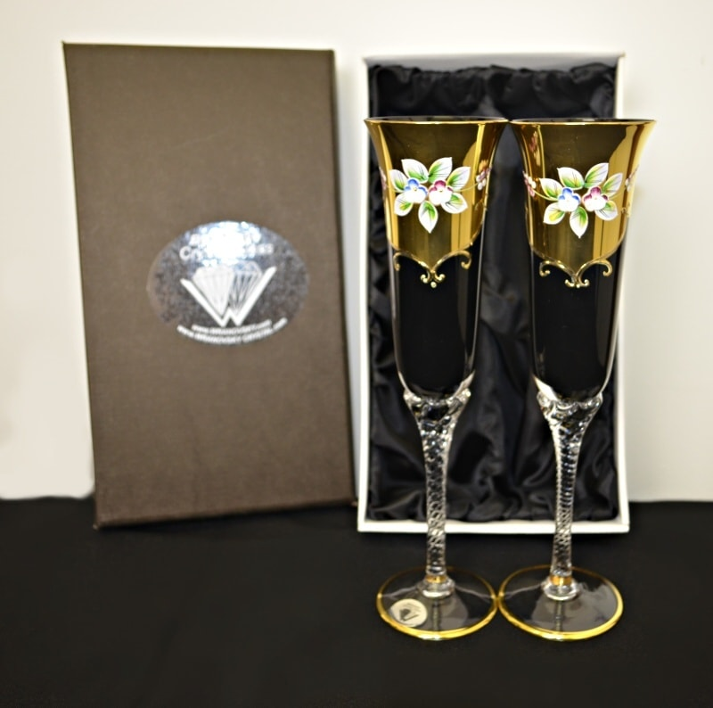 Decorative set of 2 glasses