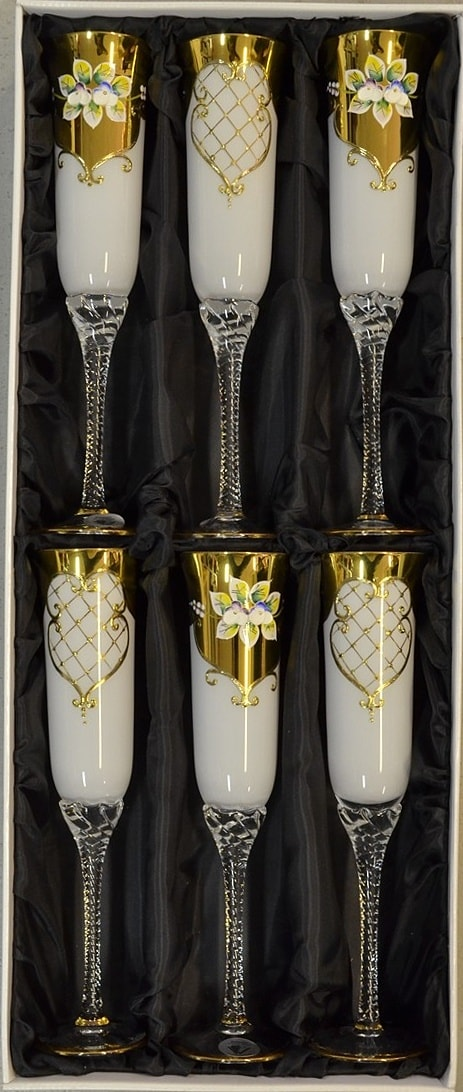 Decorative set of 6 glasses