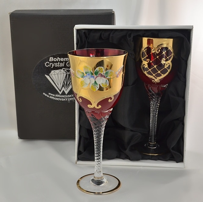 Decorative set of 2 glasses of pomegranate glass