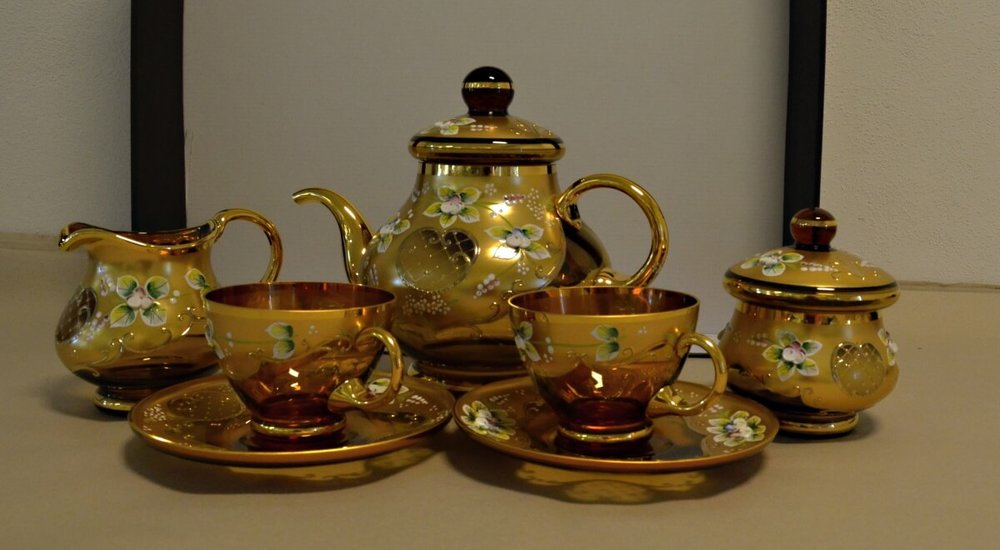 Crystal tea / coffea set (6 cups and saucers, teapot, sugar bowl, milk jug)