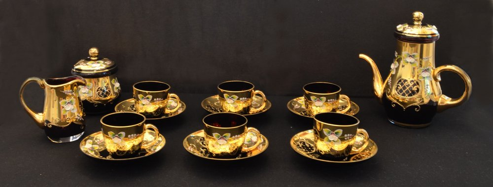 Crystal mocca set (6 cups and saucers, teapot, sugar bowl, milk jug)