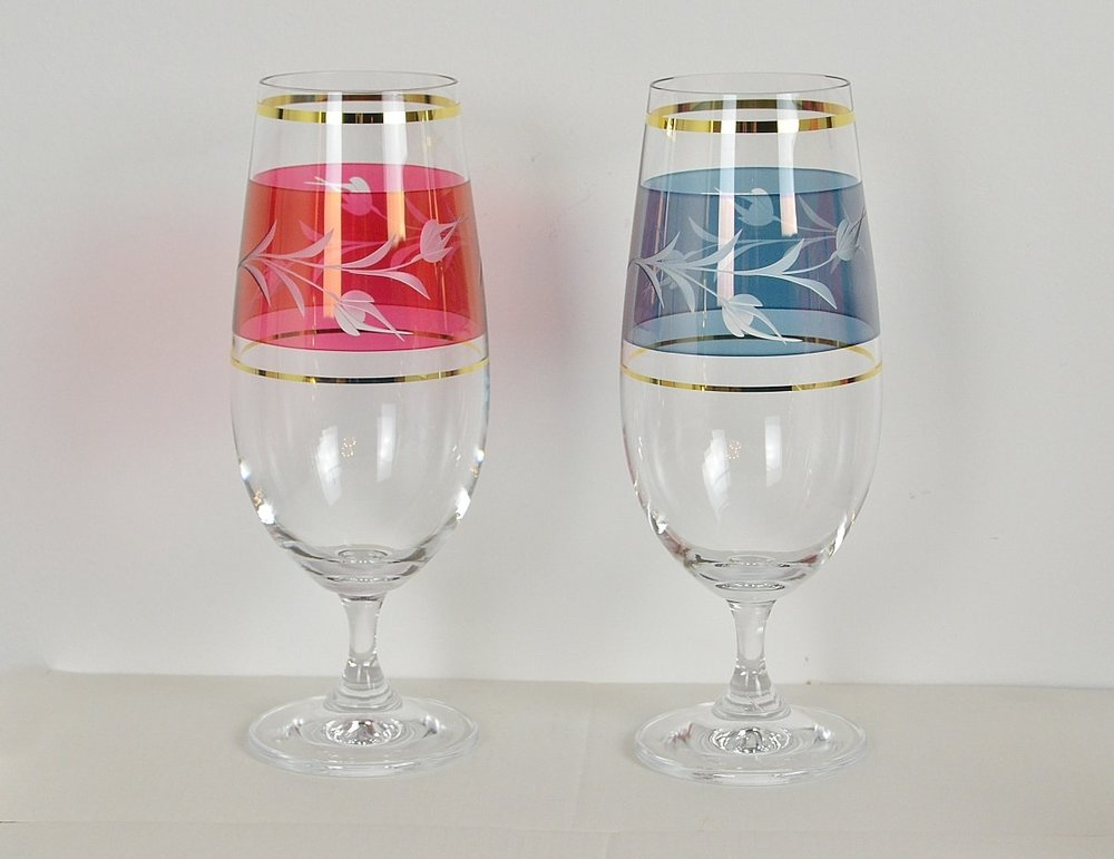 Decorative crystal glasses for beer