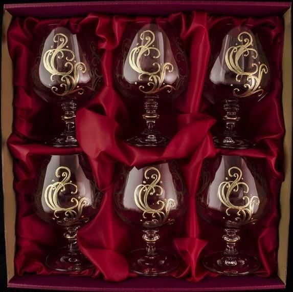 Decorative set of 6 brandy glasses