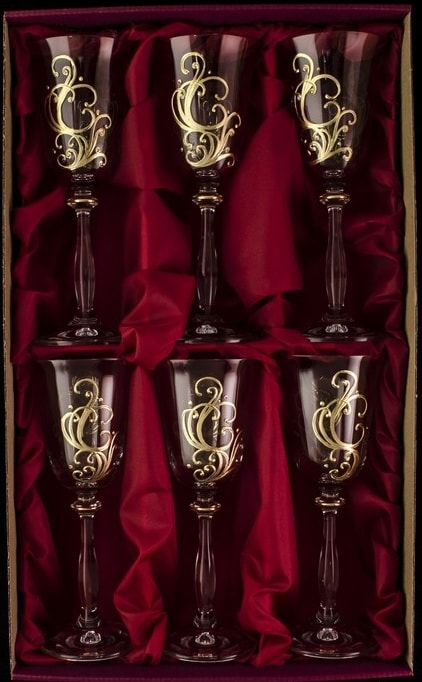 Decorative set of 6 champagne glasses