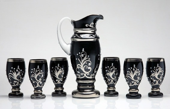Decorative set - pitcher and 6 glasses