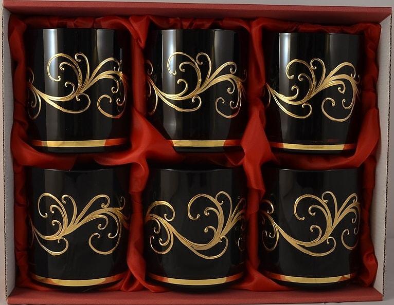 Decorative set of 6 whisky glasses