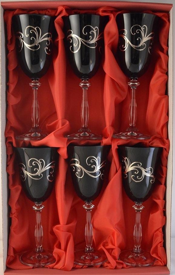 Decorative set of 6 liqueur glasses