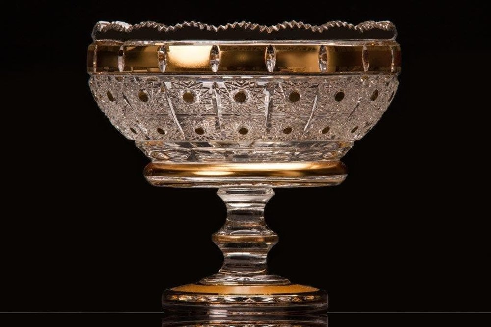 Richly cut crystal bowl with the stem Hand decorated with gold!