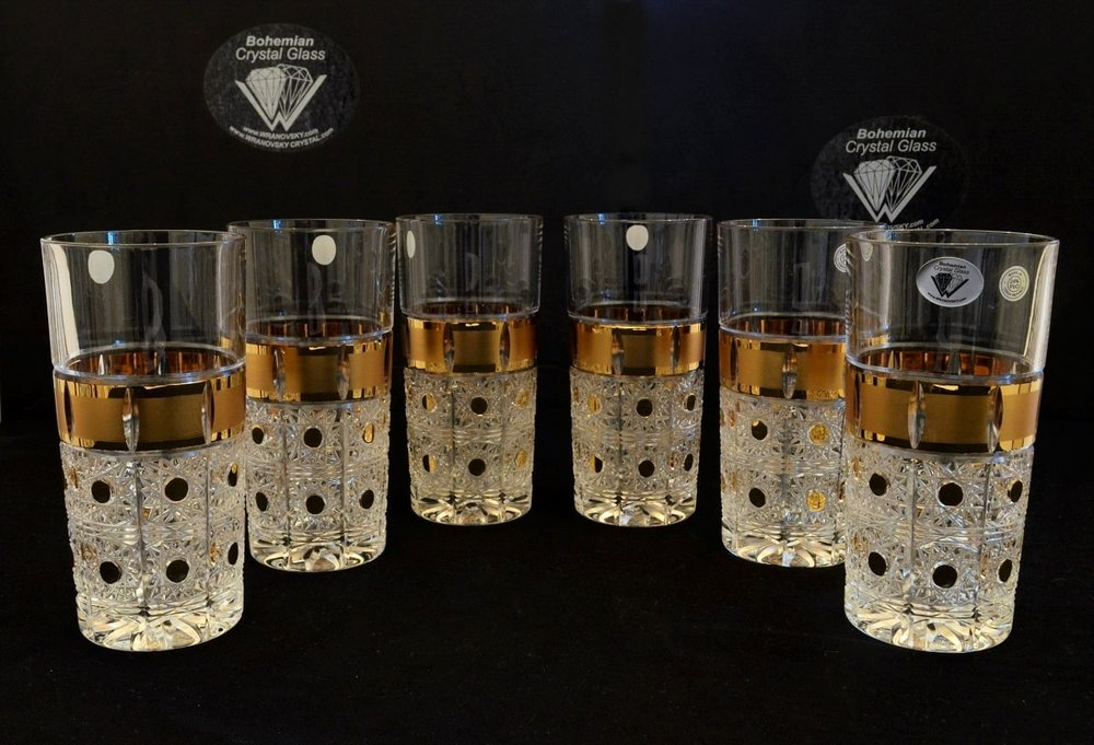Richly cut crystal glasses - set of 6 pieces