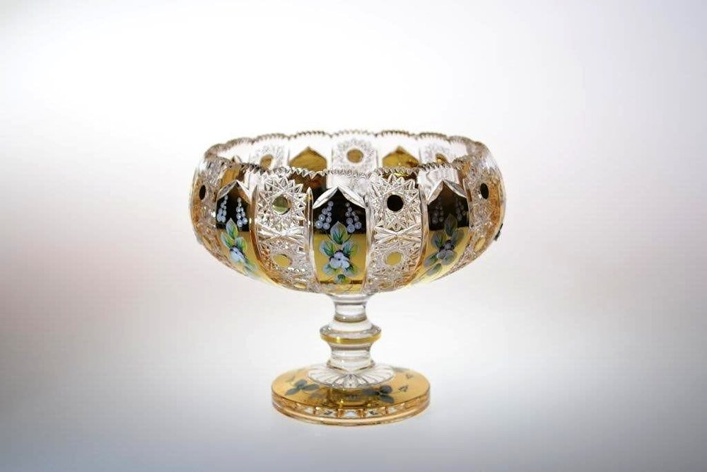 Richly cut crystal bowl with the stem