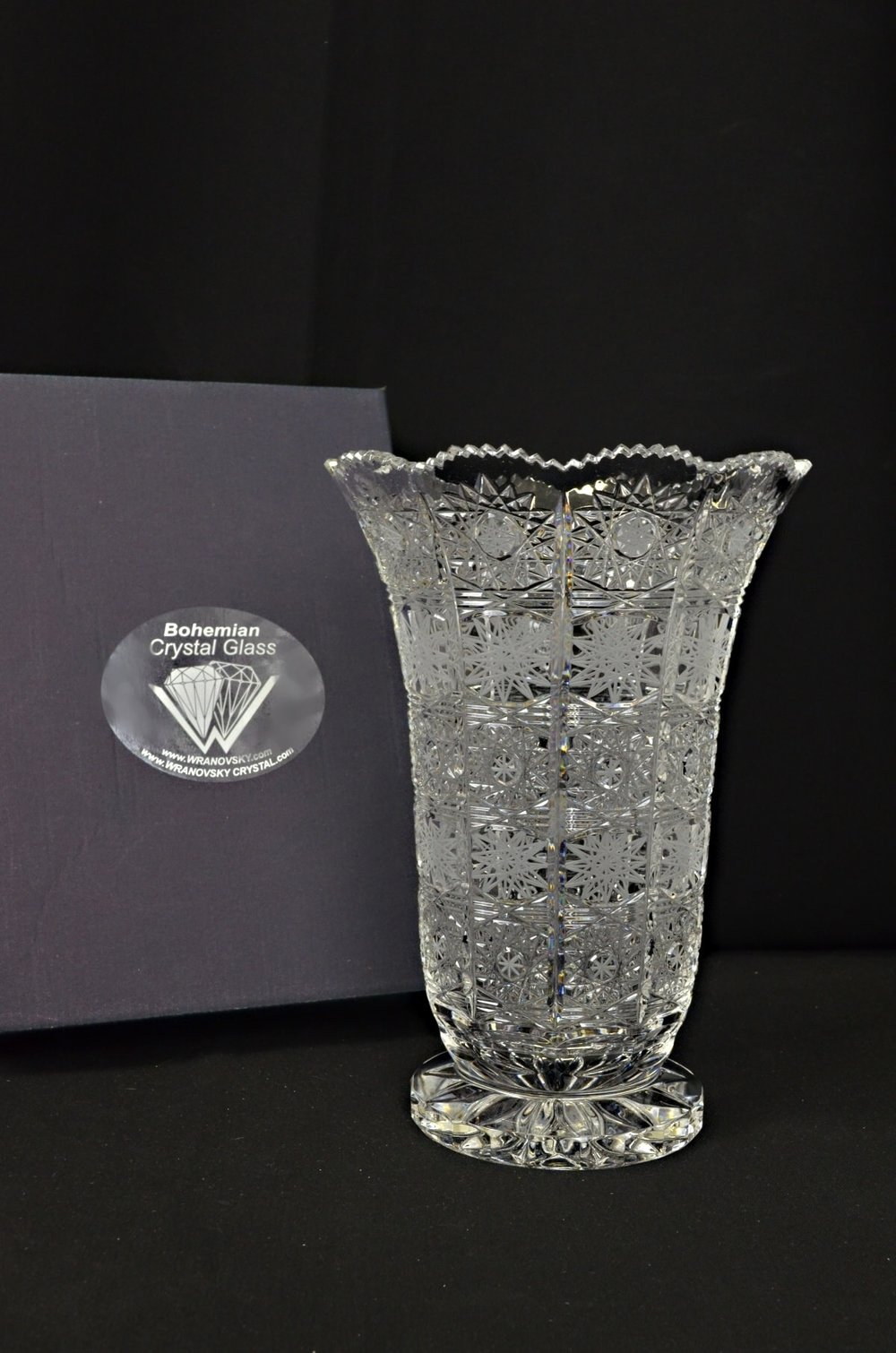 Decorative cut crystal vase