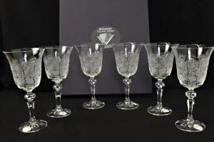 Decorative cut crystal wine glasses