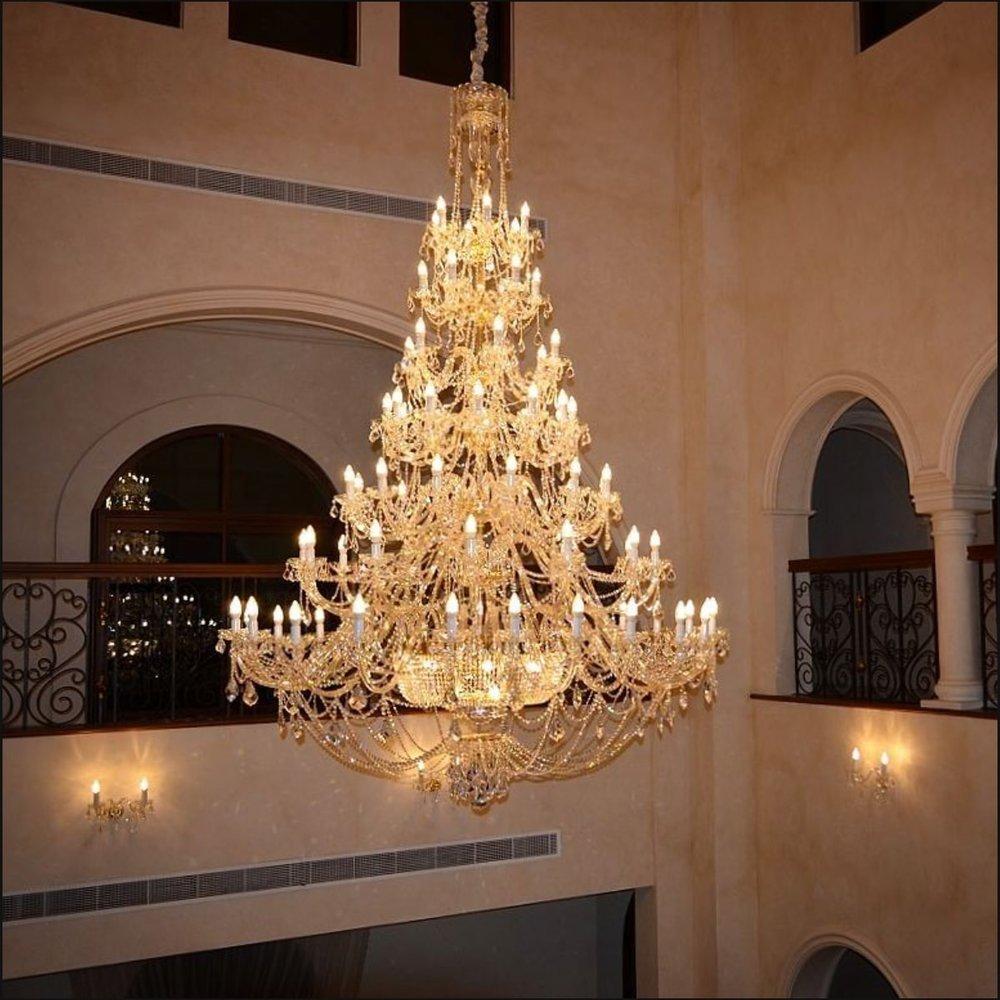 Crystal Chandelier Ricamente Decorado Dubai Jpg