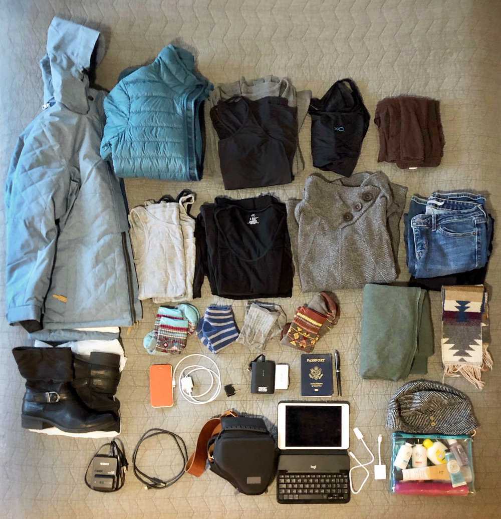 Everything for a one-month trip (except what I'll wear on the plane)