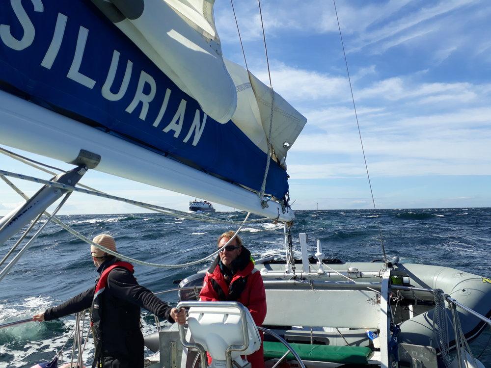 Heading through Gunna Sound in a big sea, with a big ferry!