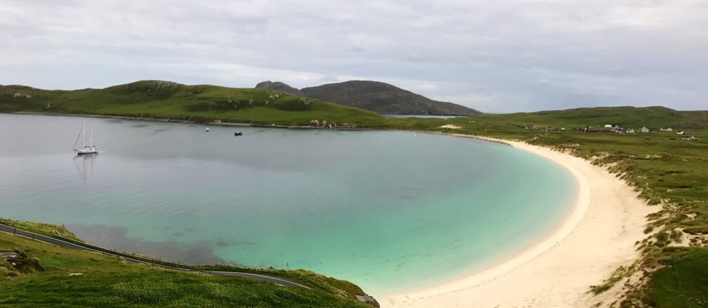 One of the many beautiful anchorages in the Hebrides, off Vatersay