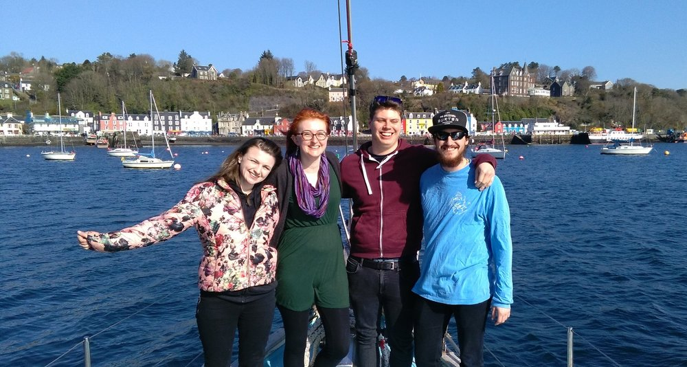 Our fantastic volunteers: Eilidh, Siobhan, Chris and Matt