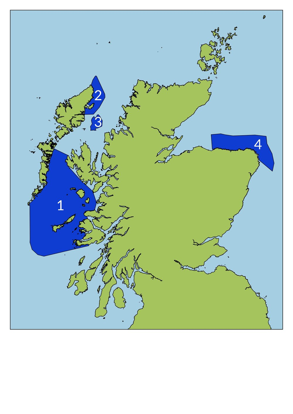 Locations of proposed sites 1.) Sea of the Hebrides protected features include minke whales and basking sharks, 2.) North East Lewis MPA protected features include Risso's dolphins and sandeels, 3.) Shiant East Bank, 4.) Southern Trench protected features include minke whales.